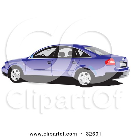 Clipart Illustration of a Purple Audi Car by David Rey