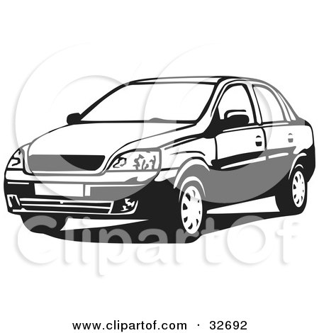 Clipart Illustration of a Black And White Chevrolet Corsa Sedan Car by David Rey
