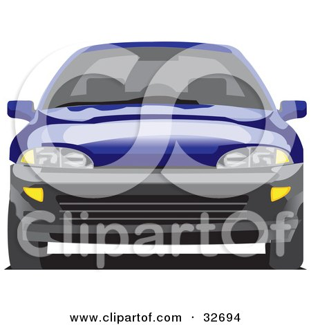 Clipart Illustration of a Blue Chevy Cavalier by David Rey