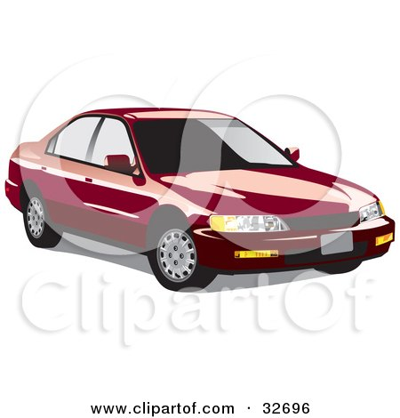 Clipart Illustration of a Red Honda Accord With Dark Window Tint by David Rey