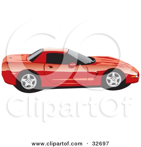Clipart Illustration of a Red Chevy Corvette Sports Car In Profile, With Privacy Glass by David Rey