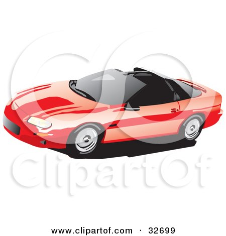 Clipart Illustration of a Red Chevy Camaro With T-Tops And Tinted Windows by David Rey