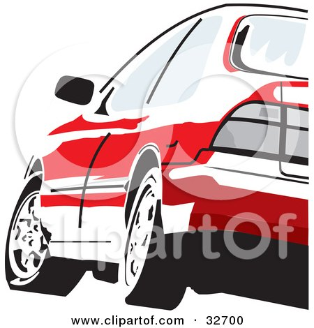 Clipart Illustration of a Red Honda Accord Driving, As Seen From The Rear by David Rey