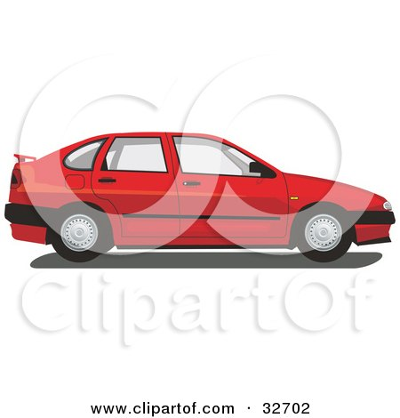 Clipart Illustration of a Red Chrysler Cordoba Car by David Rey