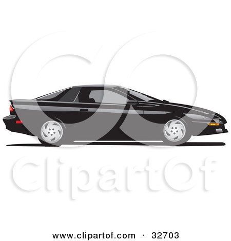 Clipart Illustration of a Black Chevy Camaro In Profile by David Rey