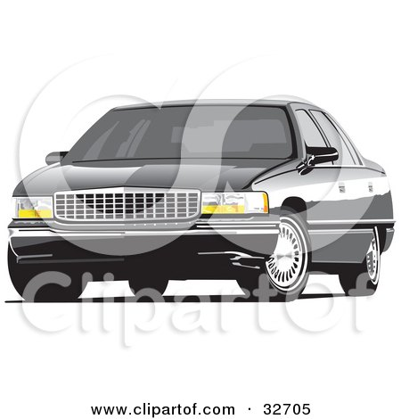 Clipart Illustration of a Black Luxury Cadillac Deville Car With Privacy Glass by David Rey