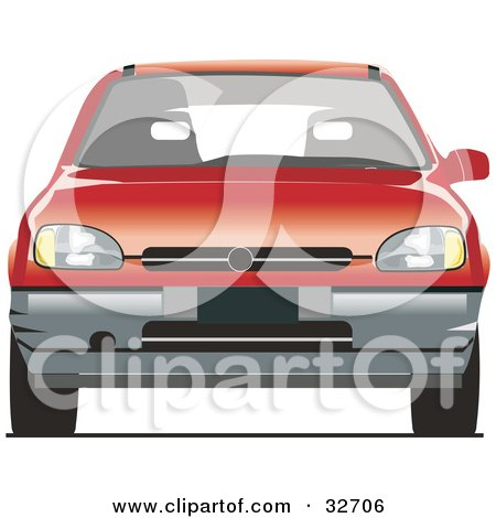 Clipart Illustration of a Compact Red Chevrolet Car by David Rey