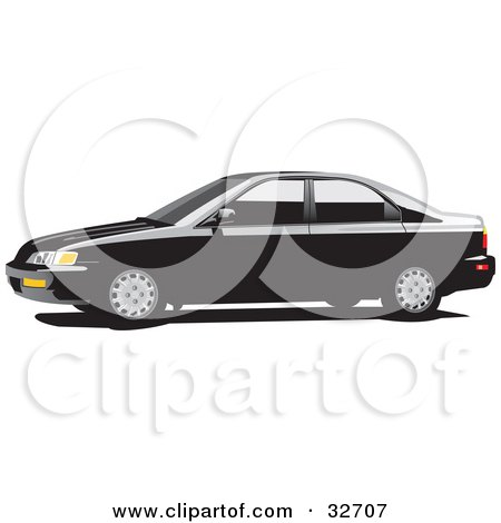 Clipart Illustration of a Black Honda Accord Car With Dark Tinted Windows, In Profile by David Rey