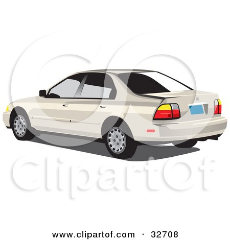Clipart Illustration of a Beige Honda Accord With Dark Tinted Windows by David Rey