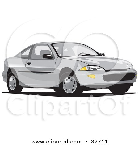 Clipart Illustration of a White Chevrolet Cavalier by David Rey