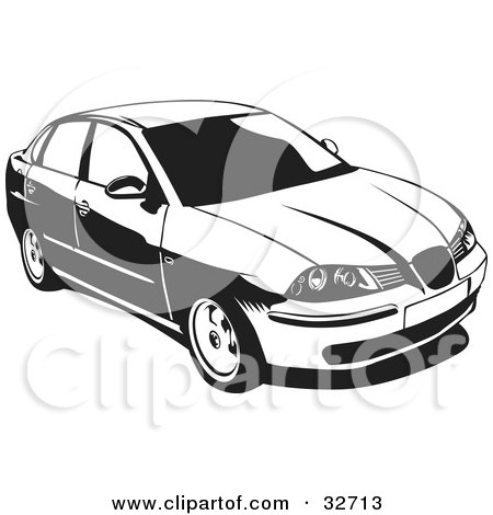 Clipart Illustration of a Black And White Chrysler Cordoba Car by David Rey