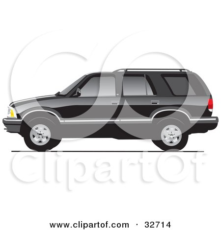 Clipart Illustration of a Black Chevy Blazer In Profile, With Dark Window Tint by David Rey