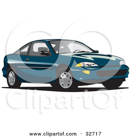 Clipart Illustration of a Teal Chevy Cavalier by David Rey