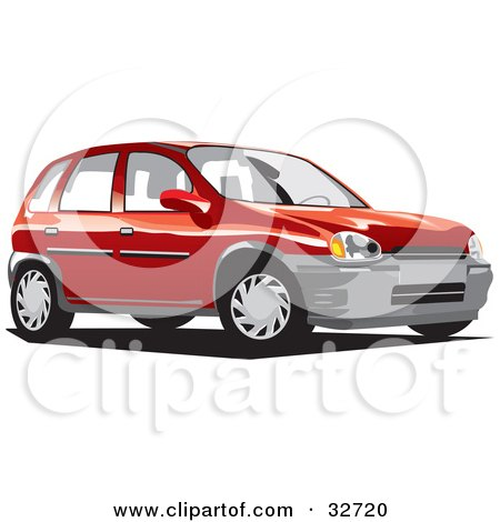 Clipart Illustration of a Red Compact Chevy Station Wagon by David Rey