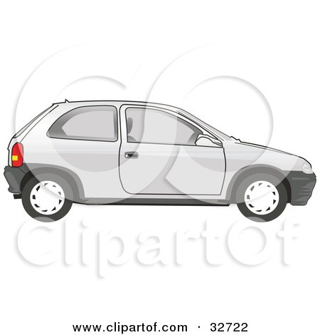 Clipart Illustration of a Parked White Compact Chevy Car by David Rey