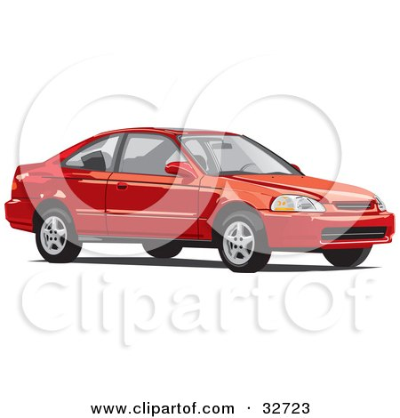 Clipart Illustration Of A Red Two Door Honda Civic Coupe Car By David Rey
