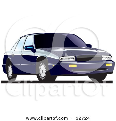 Clipart Illustration of a Dark Blue Buick Regal With Privacy Glass by David Rey