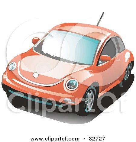 Clipart Illustration of an Orange Volkswagen Bug Car by David Rey