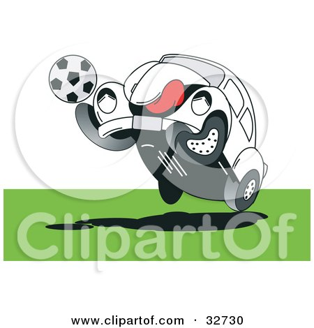 Clipart Illustration of a Sporty Slug Bug Playing Soccer On A Field by David Rey