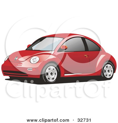 Clipart Illustration of a Red Yellow Slug Bug Car With Tinted Windows by David Rey
