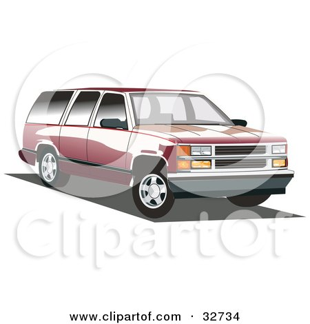 Clipart Illustration of a Red Chevy Suburban With Black Tinted Windows by David Rey