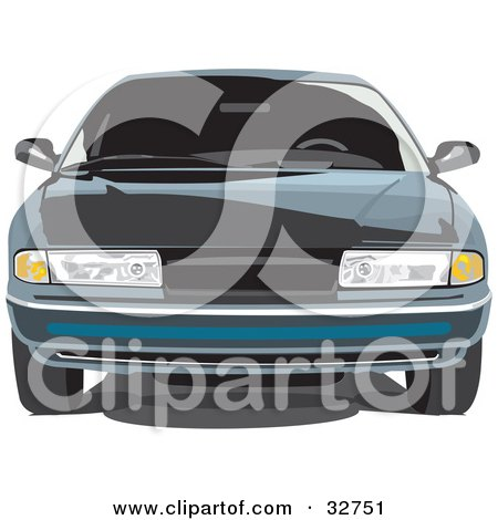 Clipart Illustration of a Front View Of A Chrysler LHS Car by David Rey