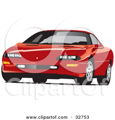 Clipart Illustration of a Red Chevrolet Camaro Sports Car by David Rey