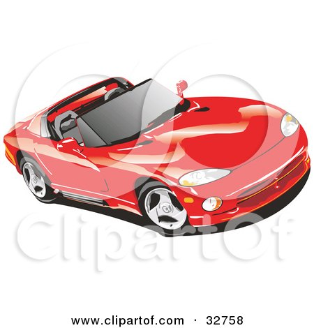 Clipart Illustration of a Red Convertible Dodge Viper Sports Car With The Top Off And Tinted Windows by David Rey