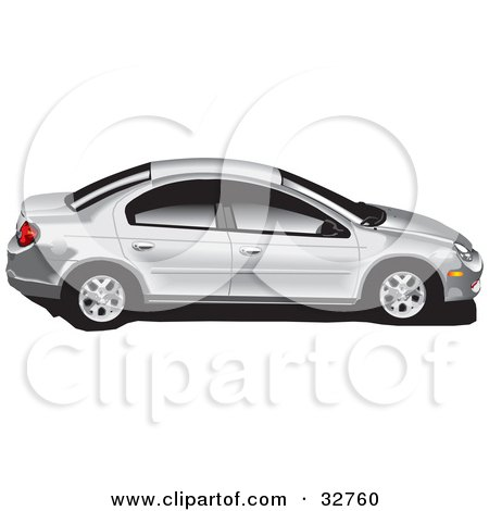Clipart Illustration of a Silver Dodge Neon Car With Tinted Windows by David Rey