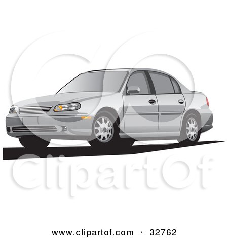 Clipart Illustration of a Silver Chevrolet Malibu Cars by David Rey