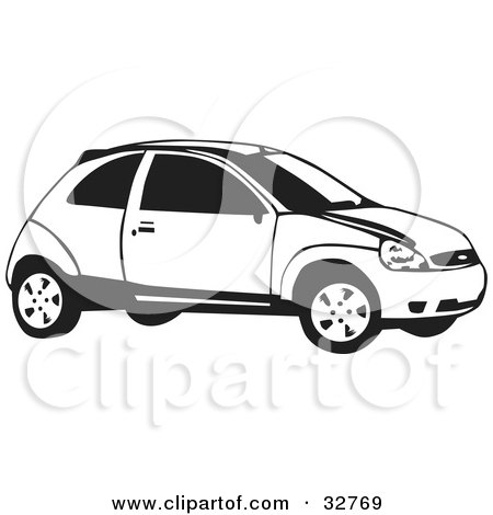 Clipart Illustration of a Black And White Ford Focus Hatchback Car by David Rey