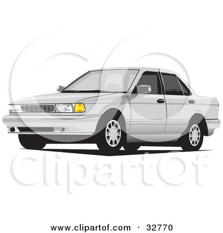 Clipart Illustration of a White Car With Window Tint by David Rey