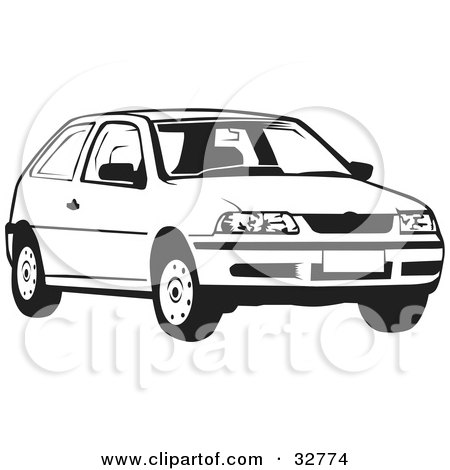 Clipart Illustration Of A White Volkswagen Bug Car In
