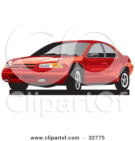 Clipart Illustration of a Red Plymouth Breeze Car With Dark Tinted Windows by David Rey