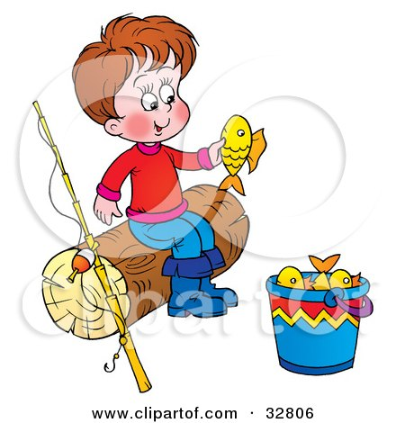 Clipart Illustration of a Boy Sitting On A Log And Looking At A Fish He Caught, His Fishing Pole Beside Him by Alex Bannykh
