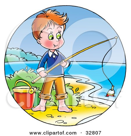 Clipart Illustration of a Boy Standing By A Pail And Fishing On The Shore by Alex Bannykh