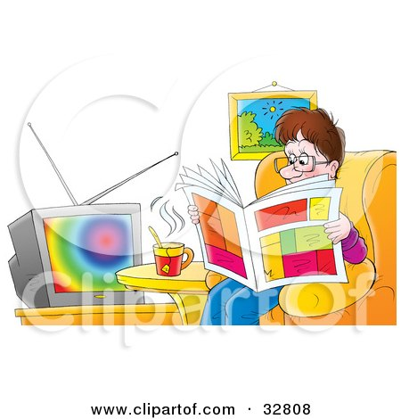Clipart Illustration of a Relaxed Father Sitting In A Chair, Drinking Tea And Reading A Newspaper In Front Of A TV by Alex Bannykh