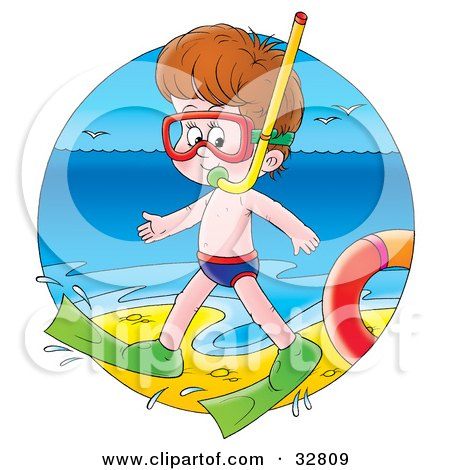 Clipart Illustration of a Boy In Snorkel Gear, Waddling Along The Surf On A Beach by Alex Bannykh