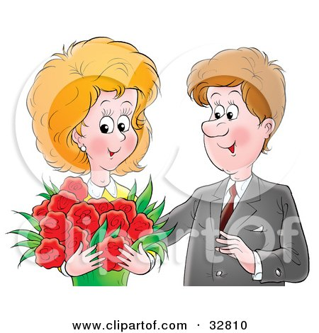 Clipart Illustration of a Romantic Man Giving His Wife A Bouquet Of Red Flowers On Valentine's Day Or Their Anniversary by Alex Bannykh