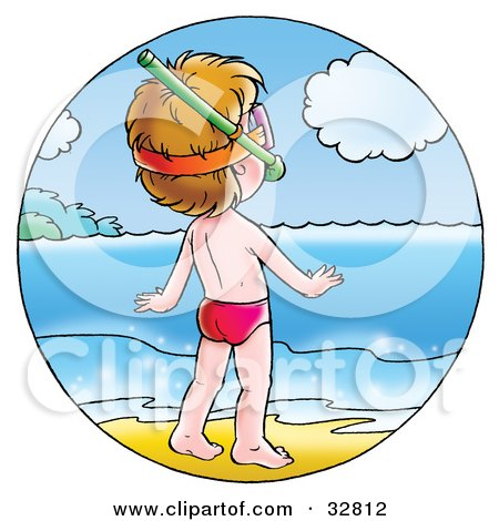 Clipart Illustration of a Little Boy On The Shore, Wearing Snorkel Gear And Watching The Sparkling Water by Alex Bannykh