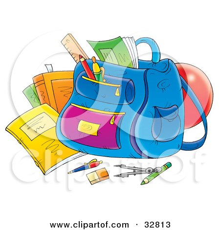 School Supplies Around A Backpack Posters, Art Prints