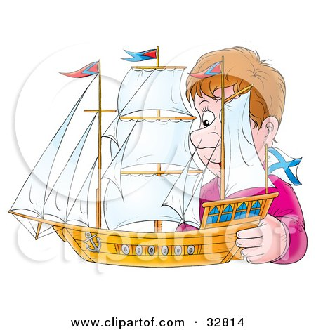 Clipart Illustration of a Man Admiring His Model Ship by Alex Bannykh