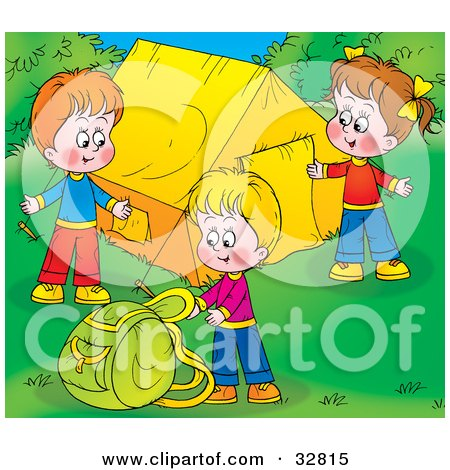 Clipart Illustration of Three Children Setting Up Their Camp Site by Alex Bannykh