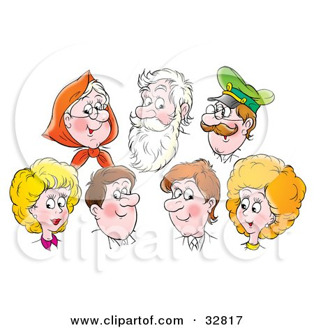 Clipart Illustration of a Group Of Caucasian Men And Women, Grandmas, Grandpas, Aunts, Uncles, Mothers And Fathers by Alex Bannykh