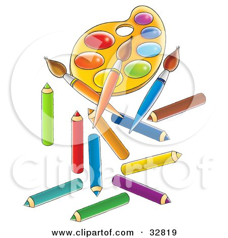 Clipart Illustration of a Paint Palette, Paintbrushes And Colored Pencils by Alex Bannykh
