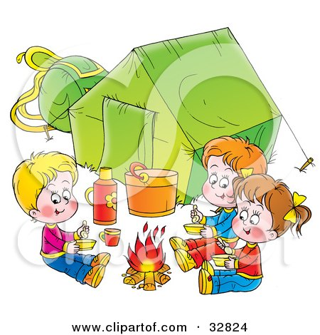 Clipart Illustration of Three Kids Eating Around A Campfire Outside Their Green Tent, On A White Background by Alex Bannykh