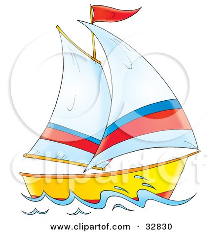 Clipart Illustration of a Yellow And Red Boat With White, Red And Blue Sails by Alex Bannykh