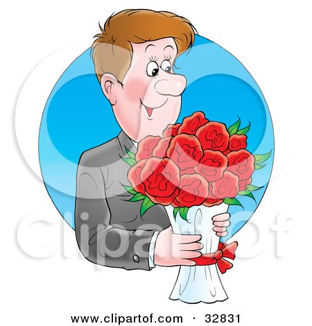 Clipart Illustration of a Handsome And Romantic Man Carrying A Bouquet Of Red Flowers by Alex Bannykh