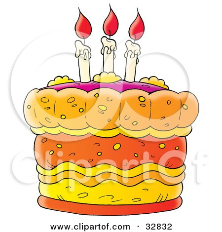 Clipart Illustration of a Birthday Cake With Three Lit Candles With Red Flames On Top by Alex Bannykh