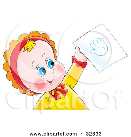 Is That a Baby Handprint Tattoo? Clipart Illustration of a Cute Blue Eyed